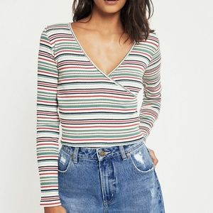Urban Outfitters Long Sleeve ballet wrap top